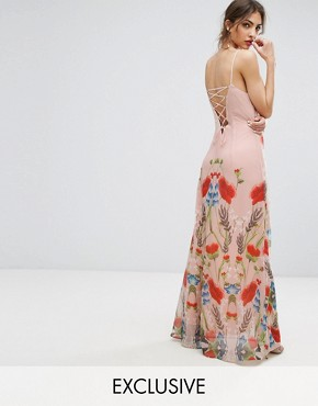 photo Printed Maxi Dress with Lace Up Back Detail by Hope & Ivy, color Pink Multi - Image 1
