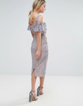 photo Embroidered Lace Midi Dress with Constrast Straps and Tie Cold Shoulder by Hope & Ivy, color Blue - Image 2