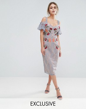 photo Embroidered Lace Midi Dress with Constrast Straps and Tie Cold Shoulder by Hope & Ivy, color Blue - Image 1