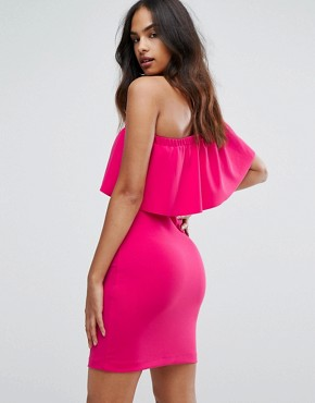 photo Ruffle One Shoulder Mini Dress by Warehouse, color Pink - Image 2