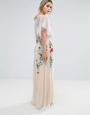 photo Embroidered Sheer Maxi Dress with Fishtail and Flutter Sleeve by Hope & Ivy, color White/Nude/Multi - Image 2