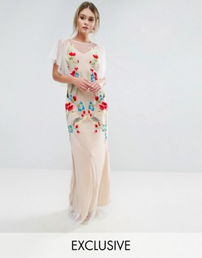 photo Embroidered Sheer Maxi Dress with Fishtail and Flutter Sleeve by Hope & Ivy, color White/Nude/Multi - Image 1