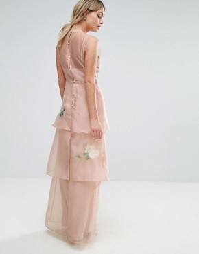 photo Tiered Maxi Dress with Floral Embroidery by Hope & Ivy, color Pink - Image 2