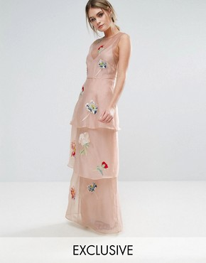 photo Tiered Maxi Dress with Floral Embroidery by Hope & Ivy, color Pink - Image 1