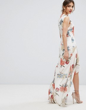 photo Floral Asymmetric Maxi Dress with Ruffles by Hope & Ivy, color Romantic Dark Floral - Image 2