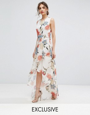 photo Floral Asymmetric Maxi Dress with Ruffles by Hope & Ivy, color Romantic Dark Floral - Image 1