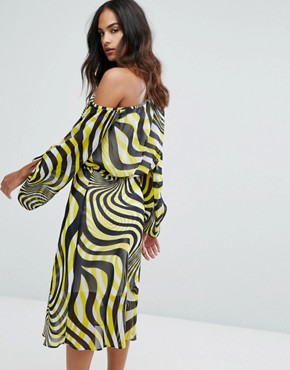 photo Swirl Print Ruched Sleeve Midi Dress by Warehouse Premium, color Multi - Image 2