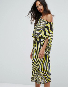 photo Swirl Print Ruched Sleeve Midi Dress by Warehouse Premium, color Multi - Image 1