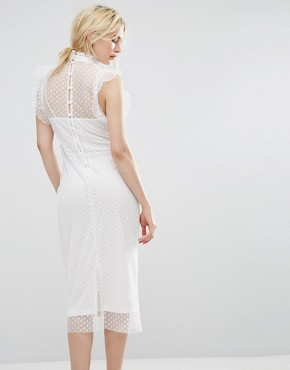 photo Mesh Spot Midi Dress with Embroidery by Hope & Ivy, color White/Multi - Image 2
