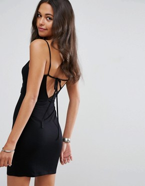photo Mini Bodycon Sundress with Cut Out Front by ASOS, color Black - Image 2