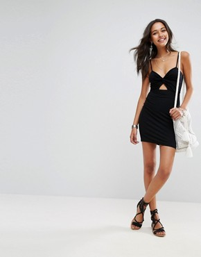photo Mini Bodycon Sundress with Cut Out Front by ASOS, color Black - Image 4