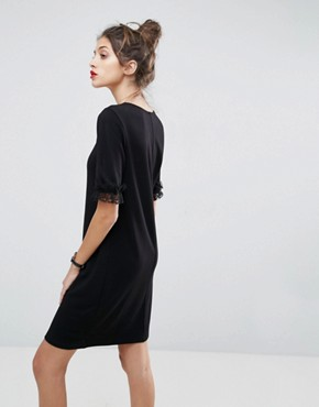 photo T-Shirt Dress in Ponte with Lace Frill Sleeve by ASOS, color Black - Image 2