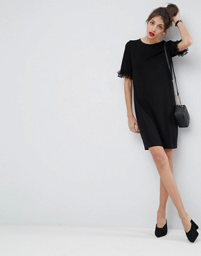 photo T-Shirt Dress in Ponte with Lace Frill Sleeve by ASOS, color Black - Image 1