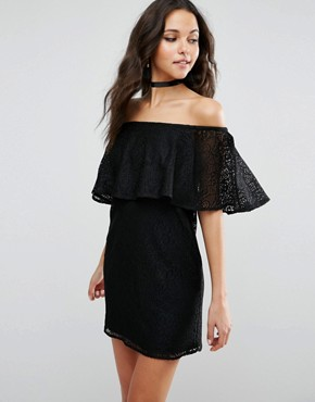 photo Off Shoulder Lace Mini Shift Dress with Frill Detail by ASOS, color Black - Image 1