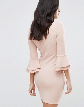 photo Flute Sleeve Mini Dress by AX Paris, color Blush - Image 2