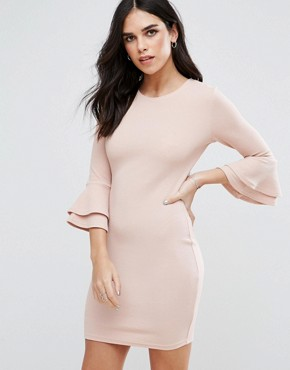 photo Flute Sleeve Mini Dress by AX Paris, color Blush - Image 1