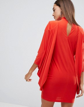 photo Drape Dress with Shoulder Pads and Tuck Detail by ASOS, color Burnt Orange - Image 2
