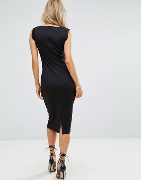 photo Seamed Midi Dress with Hook and Eye Corset Detail by ASOS, color Black - Image 2