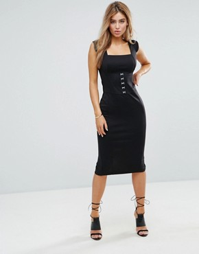 photo Seamed Midi Dress with Hook and Eye Corset Detail by ASOS, color Black - Image 1