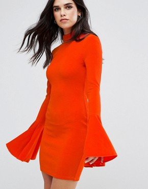 photo Flute Sleeve Midi Dress with Open Back by AX Paris, color Burnt Orange - Image 2