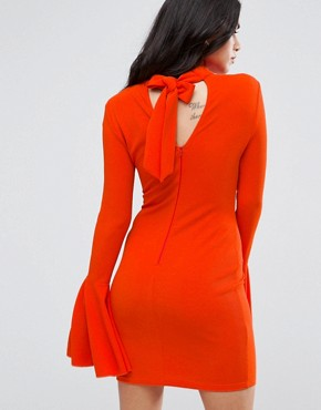 photo Flute Sleeve Midi Dress with Open Back by AX Paris, color Burnt Orange - Image 1