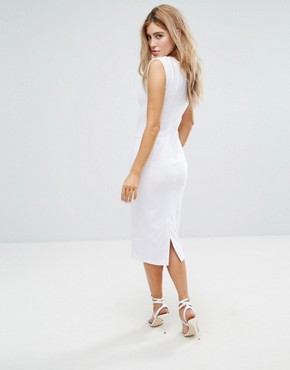 photo Seamed Midi Dress with Hook and Eye Corset Detail by ASOS, color White - Image 2