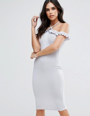 photo Cold Shoulder Frill Detail Midi Dress by AX Paris, color Silver Grey - Image 1