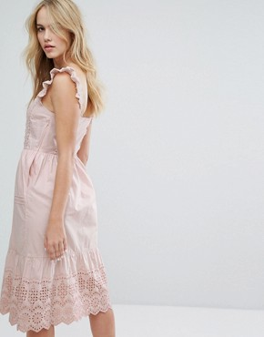 photo Broderie Detail Midi Dress by Miss Selfridge, color Pink - Image 2