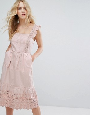 photo Broderie Detail Midi Dress by Miss Selfridge, color Pink - Image 1