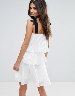 photo Tiered Tie Strap Mini Dress by Miss Selfridge, color Ivory - Image 2