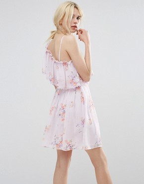 photo Asymmetric Frill Front Skater Dress by Miss Selfridge, color Lilac Print - Image 2