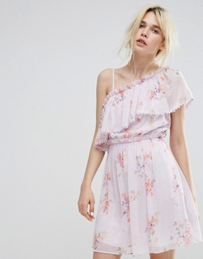 photo Asymmetric Frill Front Skater Dress by Miss Selfridge, color Lilac Print - Image 1