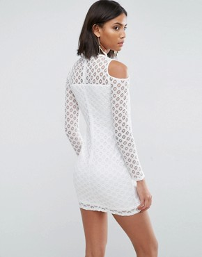 photo Cold Shoulder All Over Lace Dress by AX Paris, color Cream - Image 2