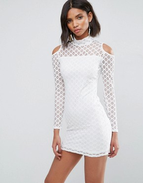 photo Cold Shoulder All Over Lace Dress by AX Paris, color Cream - Image 1