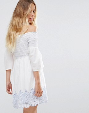 photo Bardot Embroidered Dress by Miss Selfridge, color Ivory - Image 2