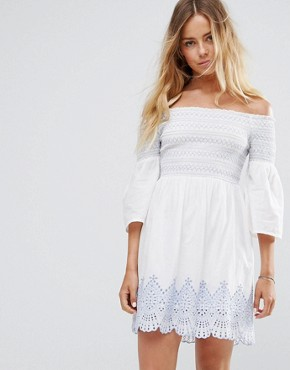 photo Bardot Embroidered Dress by Miss Selfridge, color Ivory - Image 1