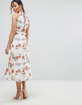 photo Printed Dress with Frill Detail by Hope & Ivy Maternity, color Multi - Image 2