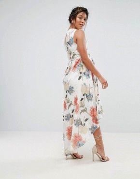 photo Printed Maxi Dress with Frill Detail by Hope & Ivy Maternity, color Multi - Image 2