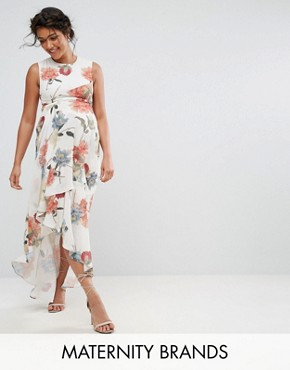 photo Printed Maxi Dress with Frill Detail by Hope & Ivy Maternity, color Multi - Image 1
