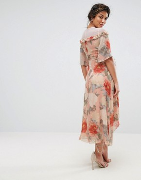 photo Printed Kimono Midi Dress with Lace Trim by Hope & Ivy Maternity, color Multi - Image 2
