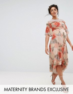 photo Printed Kimono Midi Dress with Lace Trim by Hope & Ivy Maternity, color Multi - Image 1