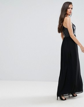 photo Faux Leather Eyelet Cross Strap Maxi Dress by BCBG Max Azria, color Black - Image 2