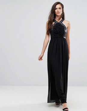 photo Faux Leather Eyelet Cross Strap Maxi Dress by BCBG Max Azria, color Black - Image 1