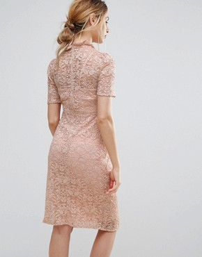 photo Lace Pencil Dress by Hope & Ivy Maternity, color Pink - Image 2