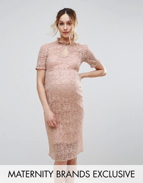 photo Lace Pencil Dress by Hope & Ivy Maternity, color Pink - Image 1