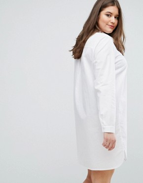 photo Cotton Shirt Dress by ASOS CURVE, color White - Image 2