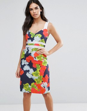 photo Floral Pencil Dress with Contrast Waistband by Vesper, color Neon Floral - Image 1