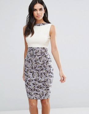 photo 2 in 1 Butterfly Print Pencil Dress by Vesper, color Butterfly - Image 1