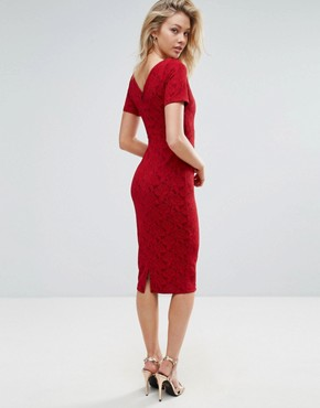 photo Short Sleeve Midi Dress by Vesper, color Red Rose Sparkle - Image 2