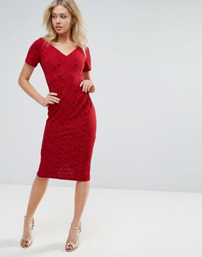 photo Short Sleeve Midi Dress by Vesper, color Red Rose Sparkle - Image 1